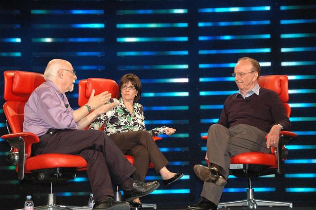 Walt Mossberg, Kara Swisher et Rupert Murdoch (de gauche à droite) - (CC) Dan Farber