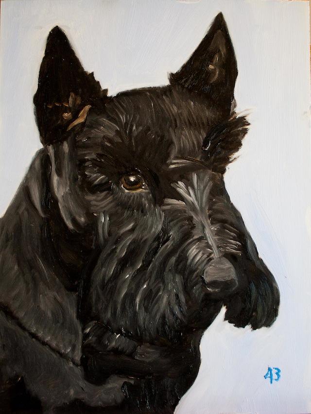 Une peinture de Barney, son chien, réalisée par George W. Bush et signée de son numéro présidentiel (Bush Jr. fut le 43ème président des Etats-Unis) - George W. Bush