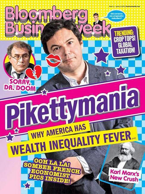 Thomas Piketty starisé en Justin Bieber à la Une du sérieux Bloomberg Businessweek - (CC) Bloomberg Businessweek