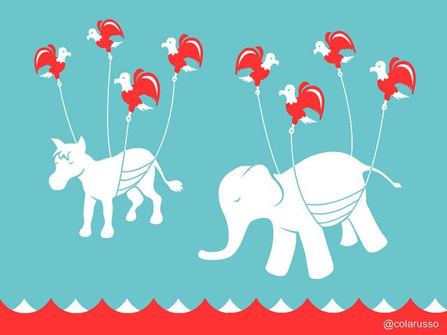 L'âne démocrate et l'éléphant républicain sur Twitter - (CC) David Colarusso