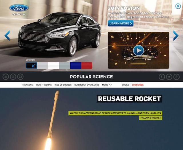 Publicité programmatique sur la page d'accueil de Popular Science - (CC) Undertone via AdAge
