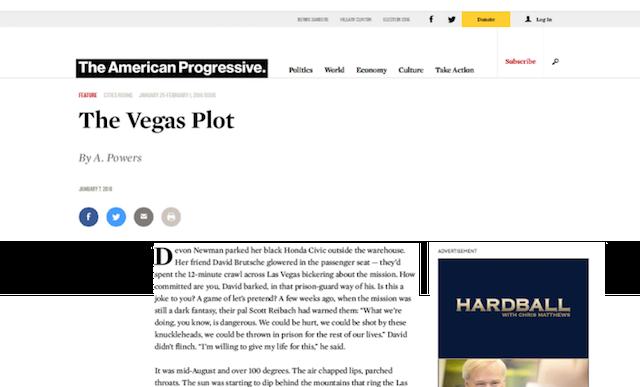 La présentation de l'article sur l'un des deux sites web fictifs créés pour l'étude - (CC) The Columbia Journalism Review
